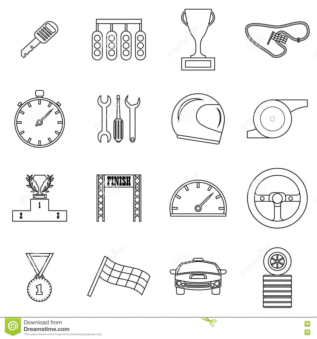road outline vector icons 6 royalty