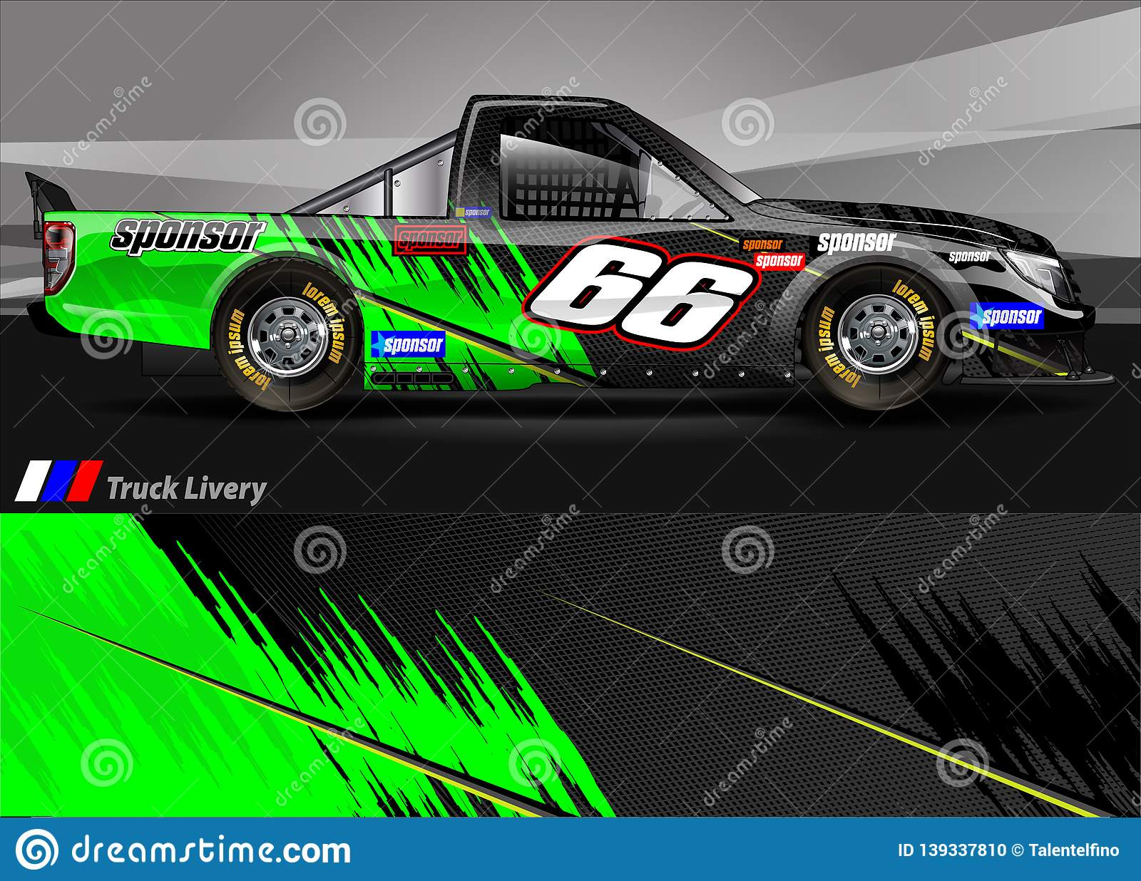 Race Truck Livery Graphic Vector  Abstract Grunge Background
