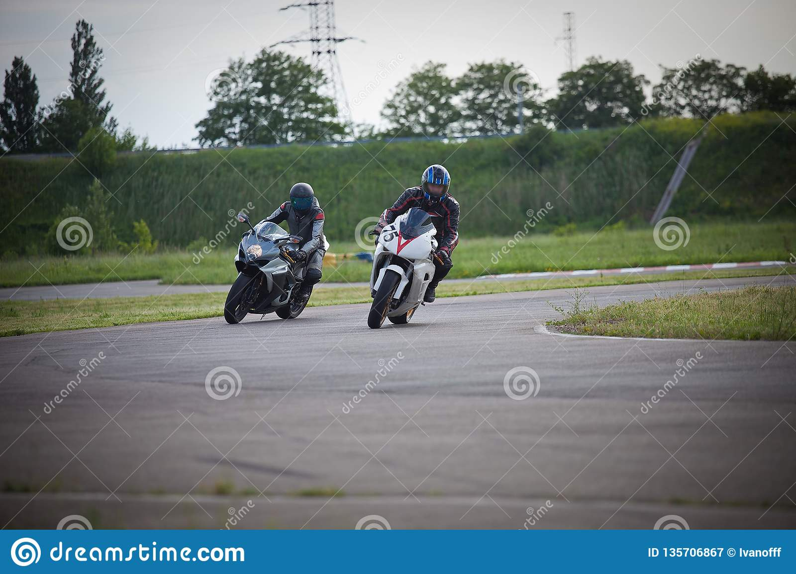 Race between two motorcycle athletes