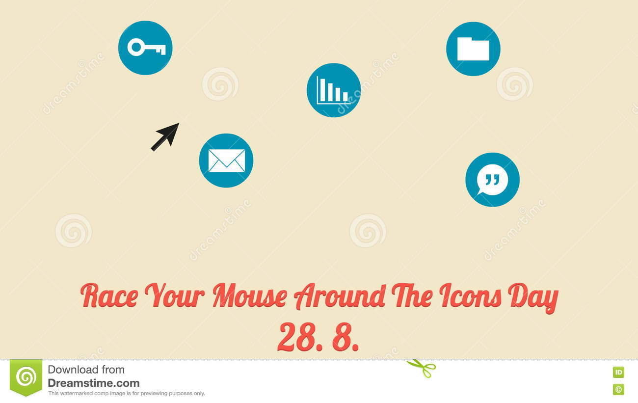 Race Your Mouse Around The Icons Day Poster (28. 8., Annual Celebration)  Stock Video - Video of email, around: 75757835