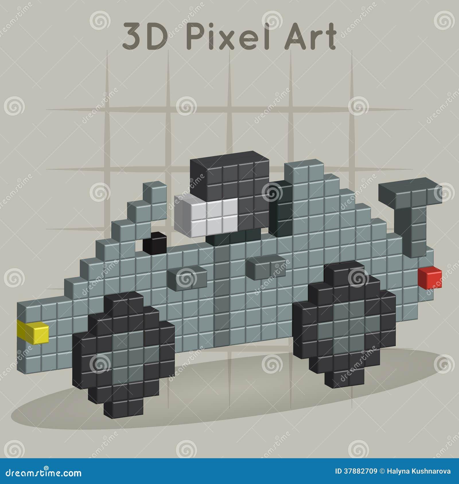 Raceauto. 3D Pixelart.