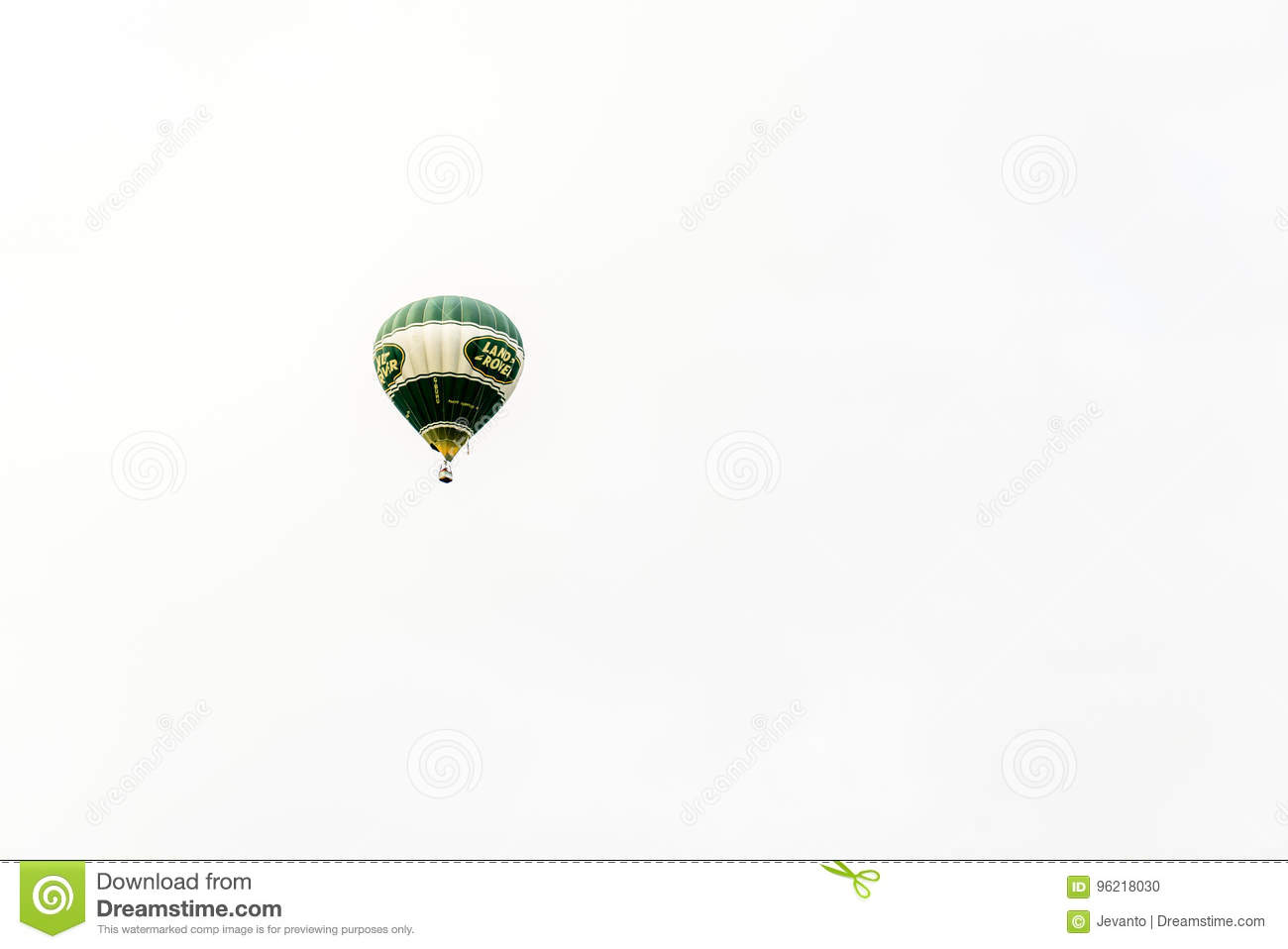 Racecourse, Northampton, England, UK - July 01: Hot-air balloon with Land Rover logo flying over Northampton Town