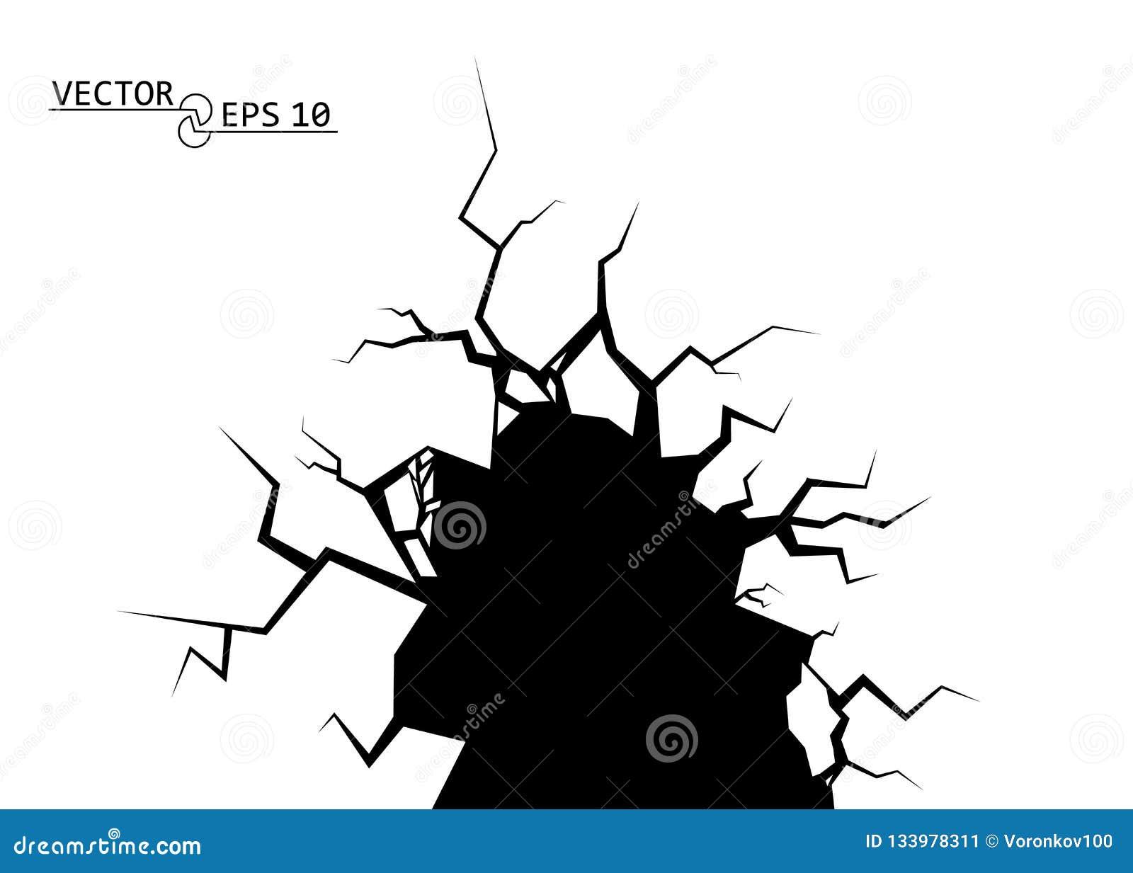 Rachaduras A destruição, o abismo Elemento decorativo do vetor no fundo isolado