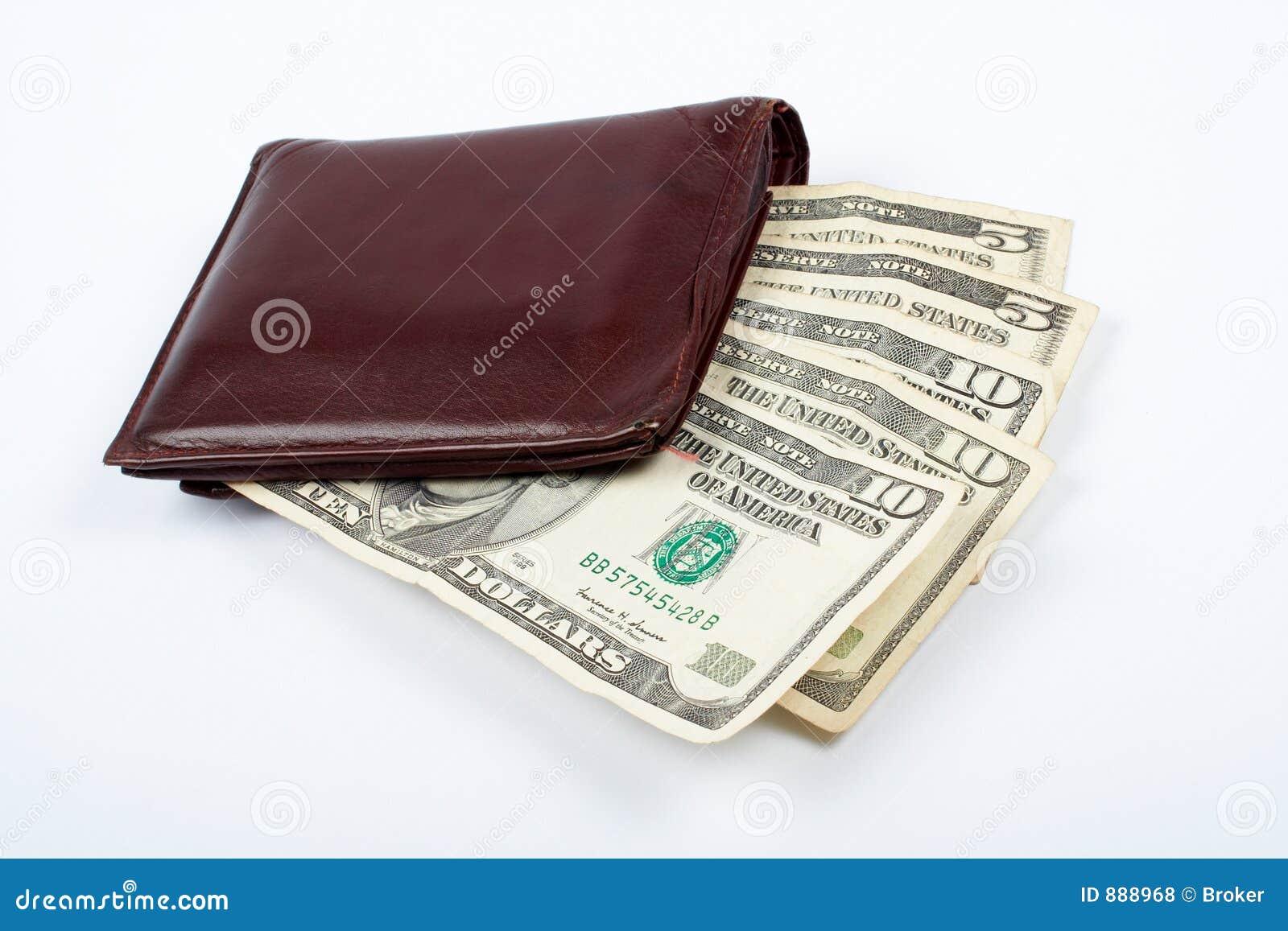 Rachunek w środku skórzany portfel stary