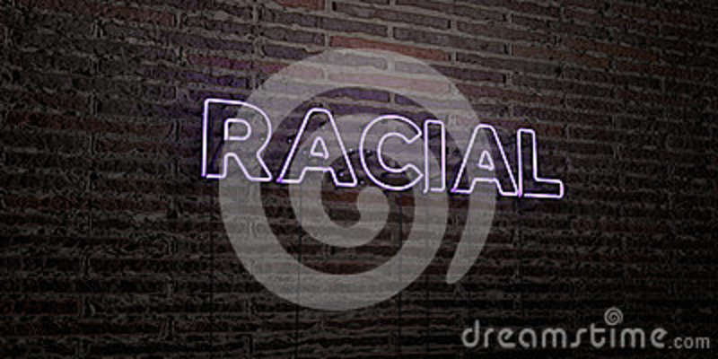 RACIAL -Realistic Neon Sign on Brick Wall background - 3D rendered royalty free stock image