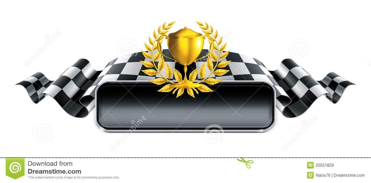 Racing Banner With Trophy