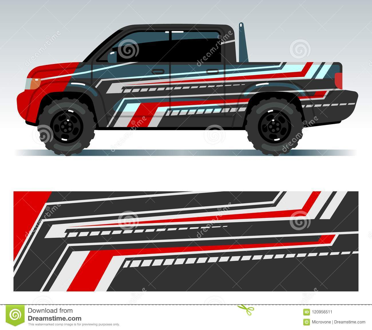 d5990445a51358 Racing car design. Vehicle wrap vinyl graphics with stripes vector  illustration