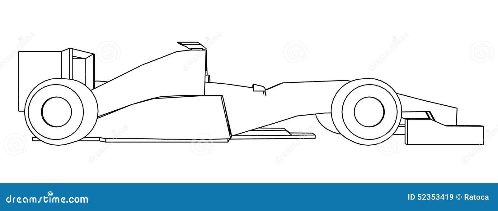 Racing Car Draw Stock Illustration Image