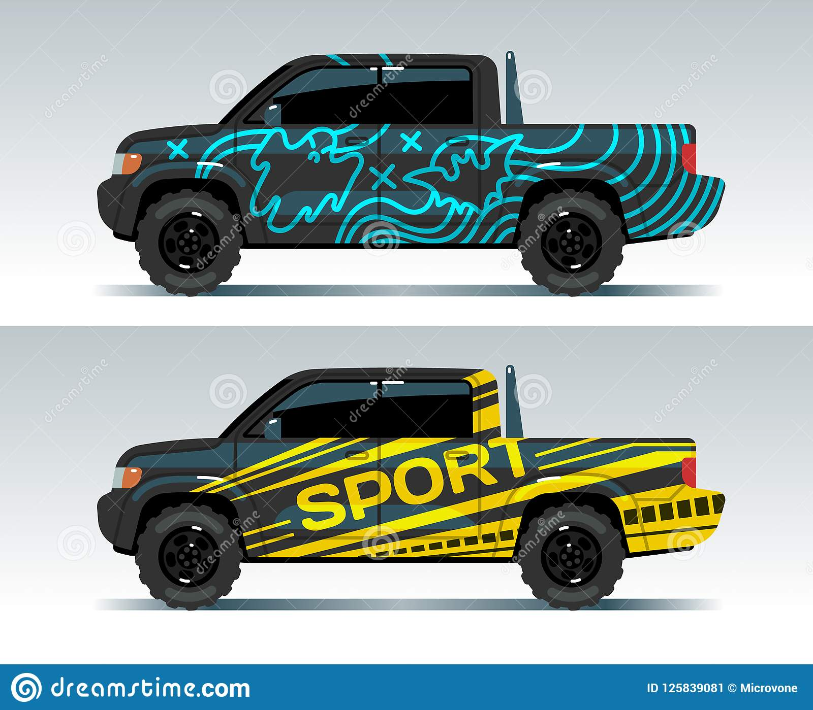 Racing Car Graphic Truck Wrapping Background Vehicle Branding Vector Design Stock Vector Illustration Of Pinstripe Racing 125839081