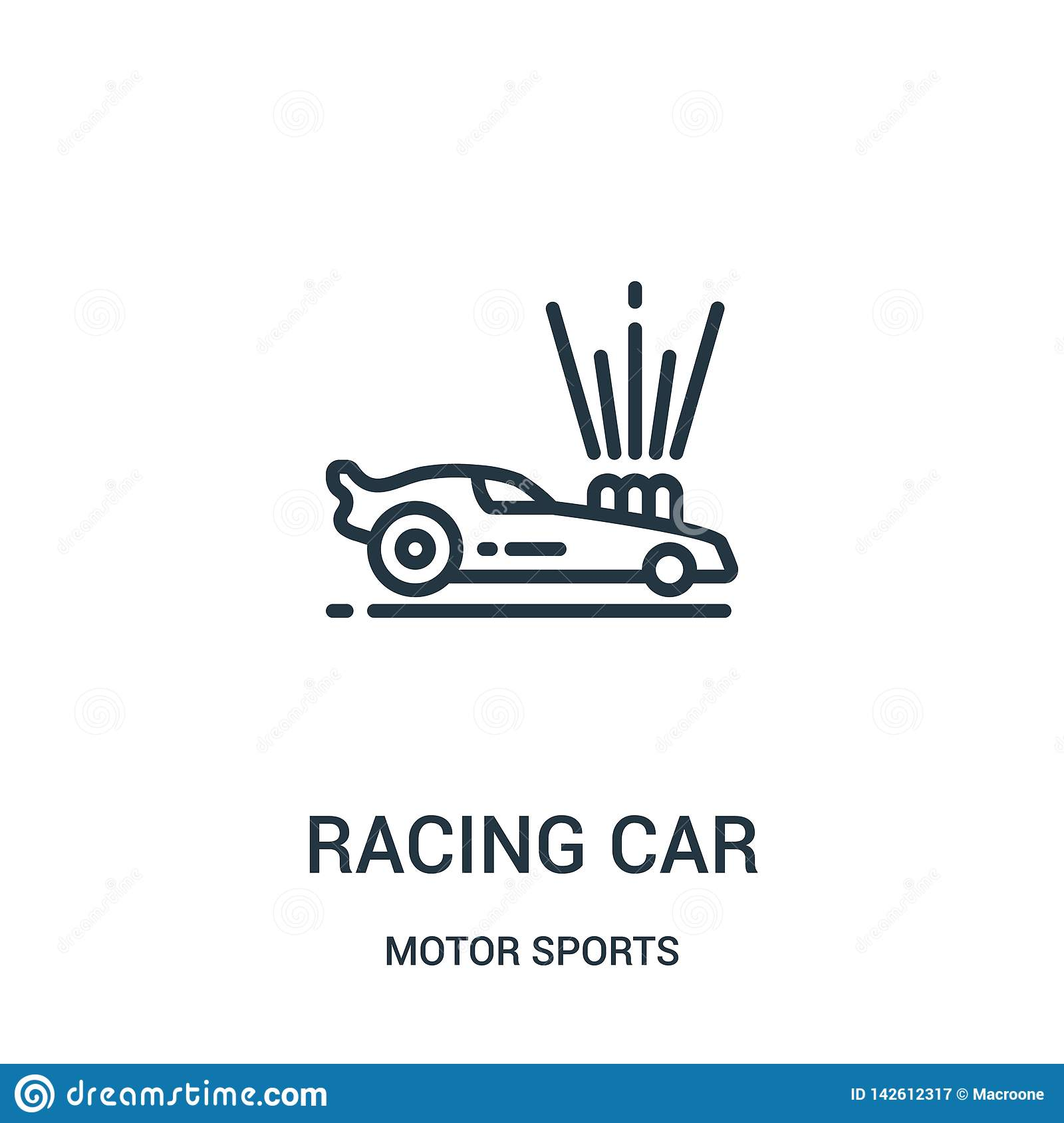 racing car icon vector from motor sports collection. Thin line racing car outline icon vector illustration. Linear symbol