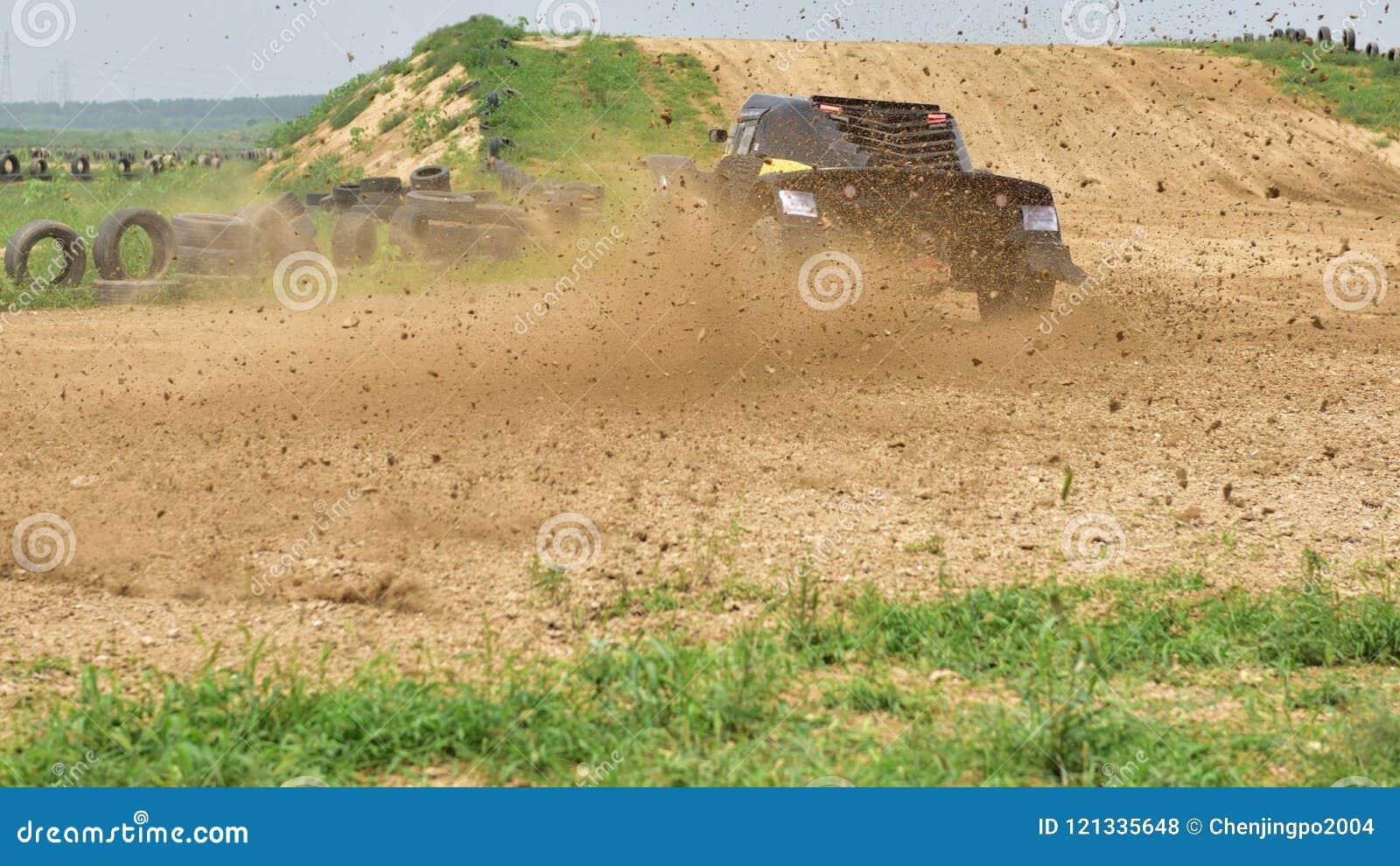 A racing car running at a high speed