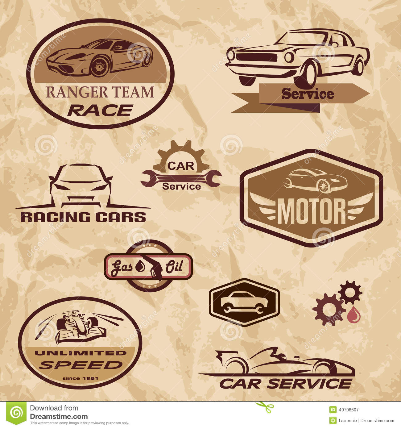 Racing Cars Vintage Labels Stock Vector Image Of Label