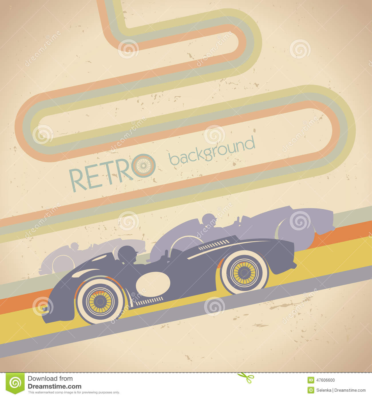Racing Design With Retro Car Vector Image 47606600 – Free for Sale Signs for Cars