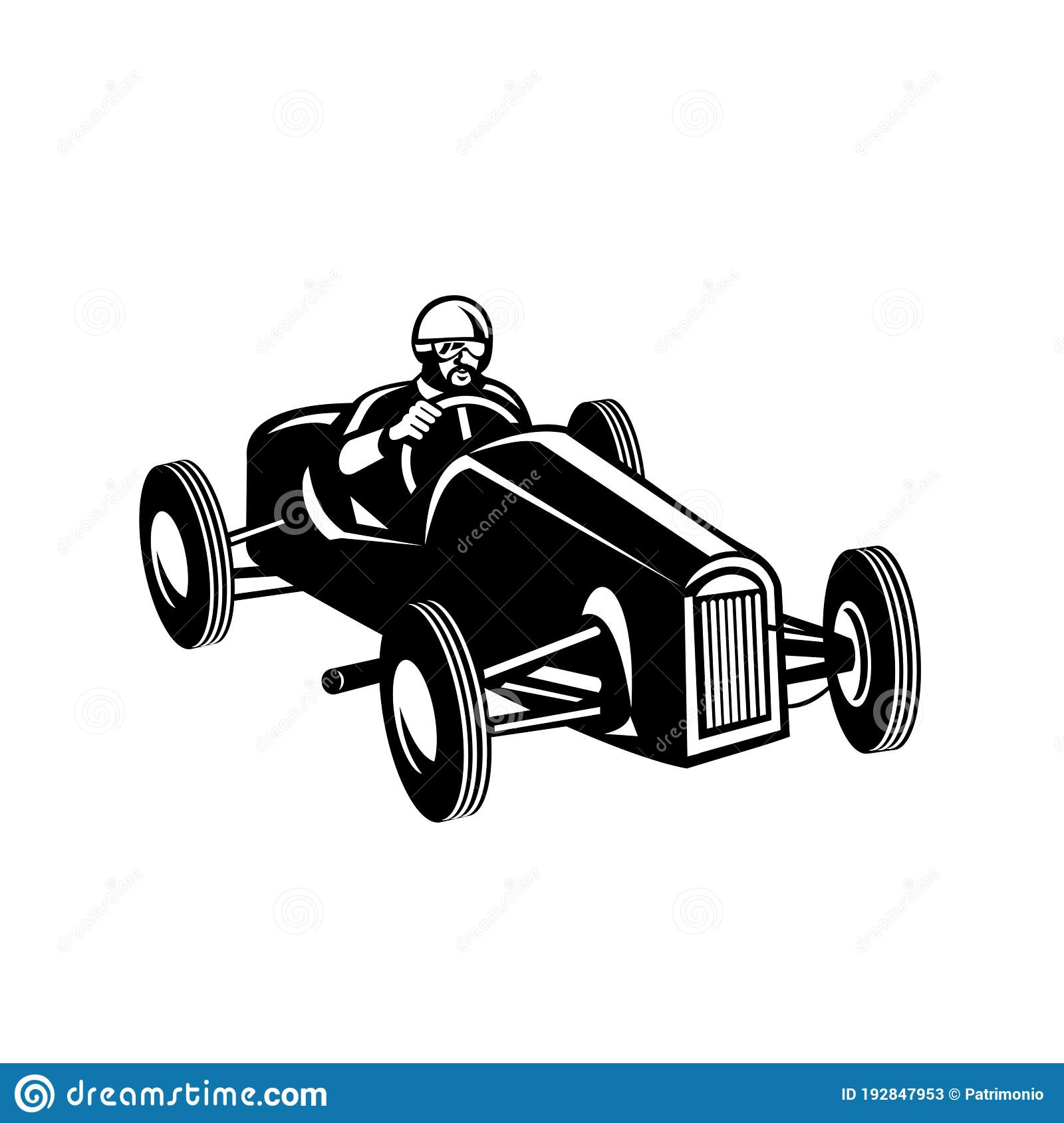 Racing Driver Driving Vintage Race Car Retro Black And White Stock Vector Illustration Of Automobile Style 192847953