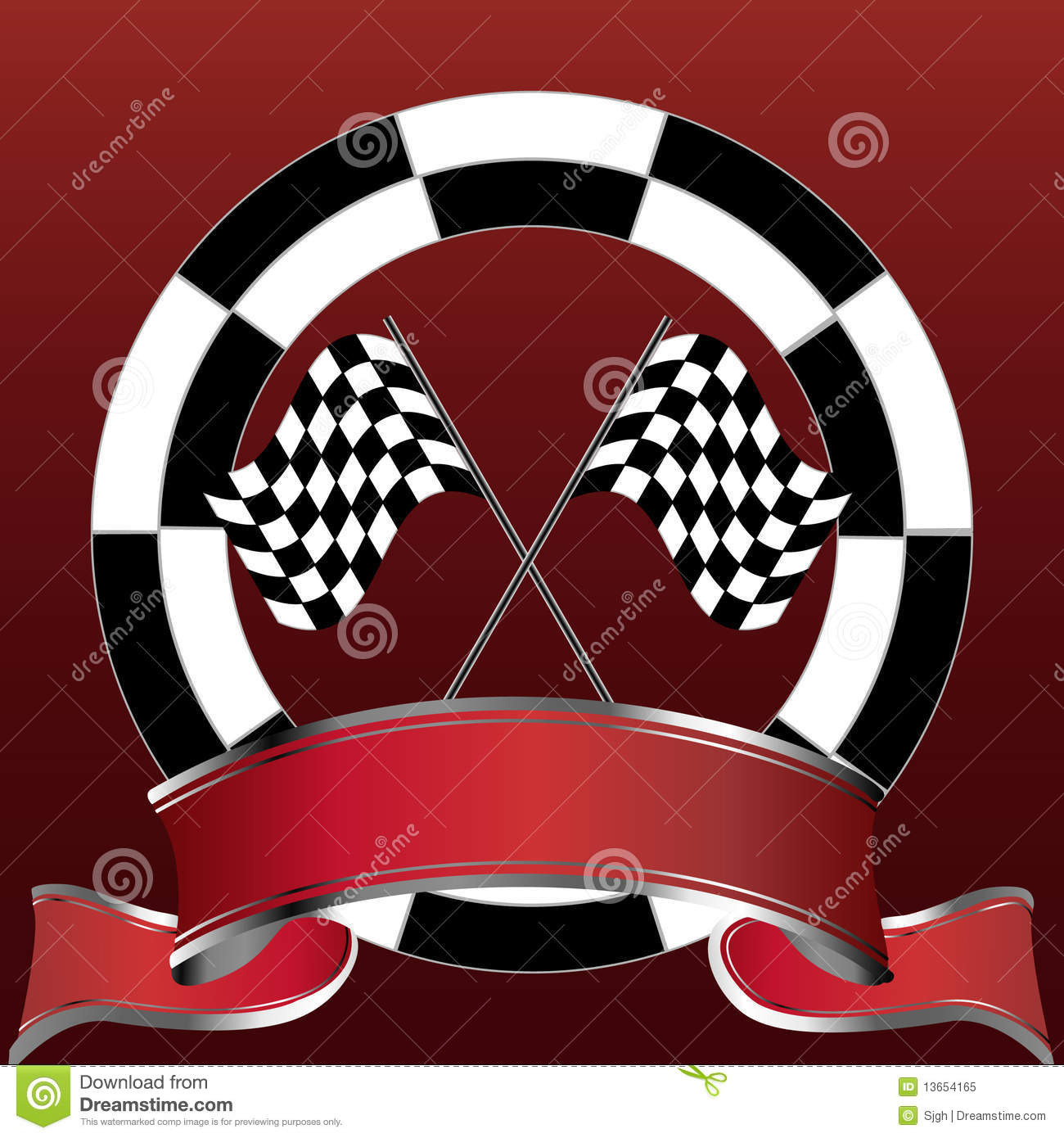 Racing Checkered Flag >> Racing Emblem With Checkered Flags And Red Banner Stock Vector - Image: 13654165