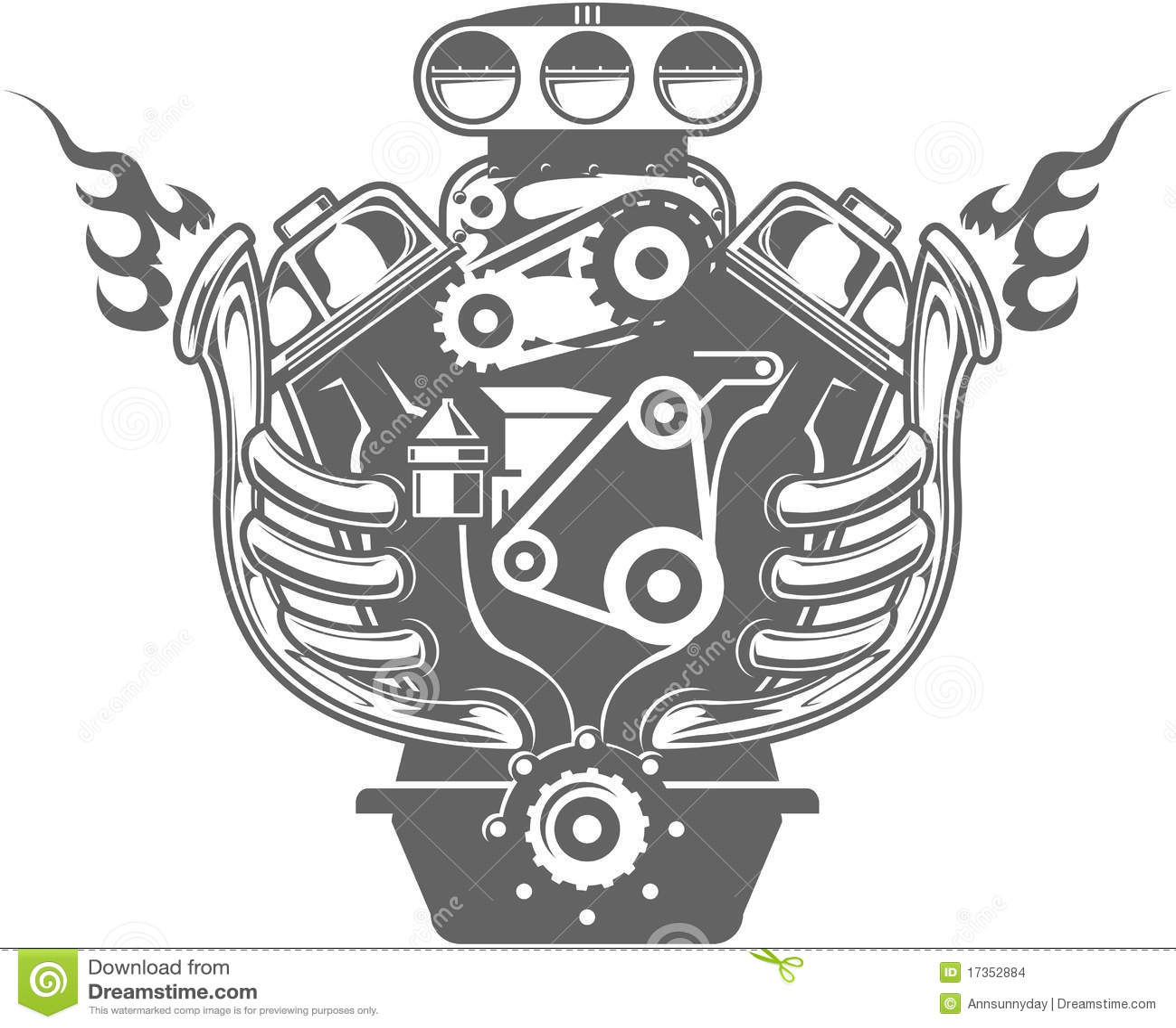 V8 Engine Clipart Racing Engine Stock Im...