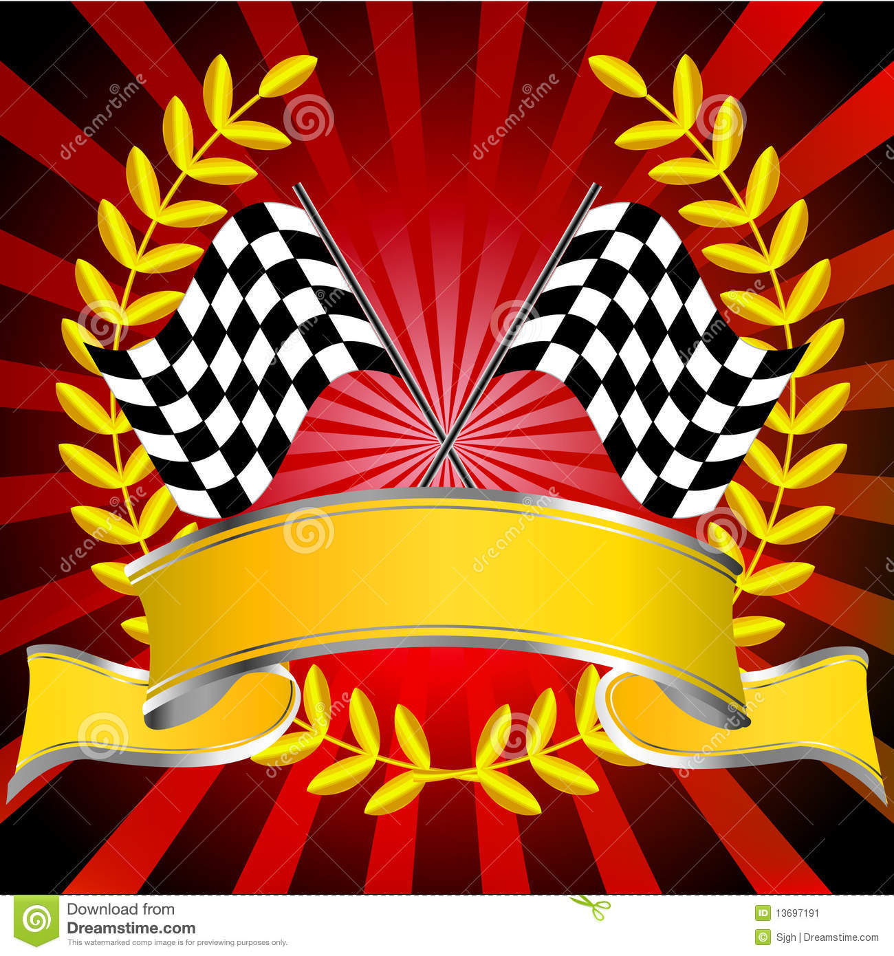 Racing Flags In Red With Wreath And Banner Stock Image ...