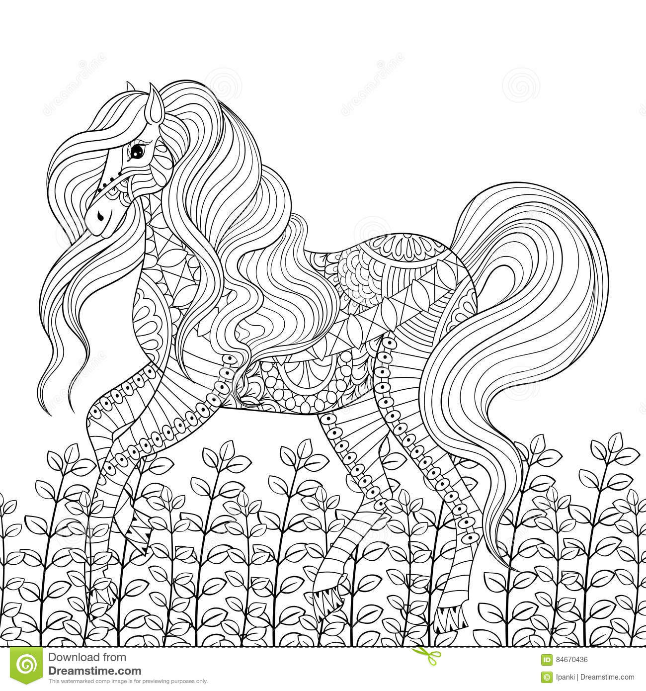 Racing Horse Adult Anti Stress Coloring Page. Hand Drawn Zentang ...