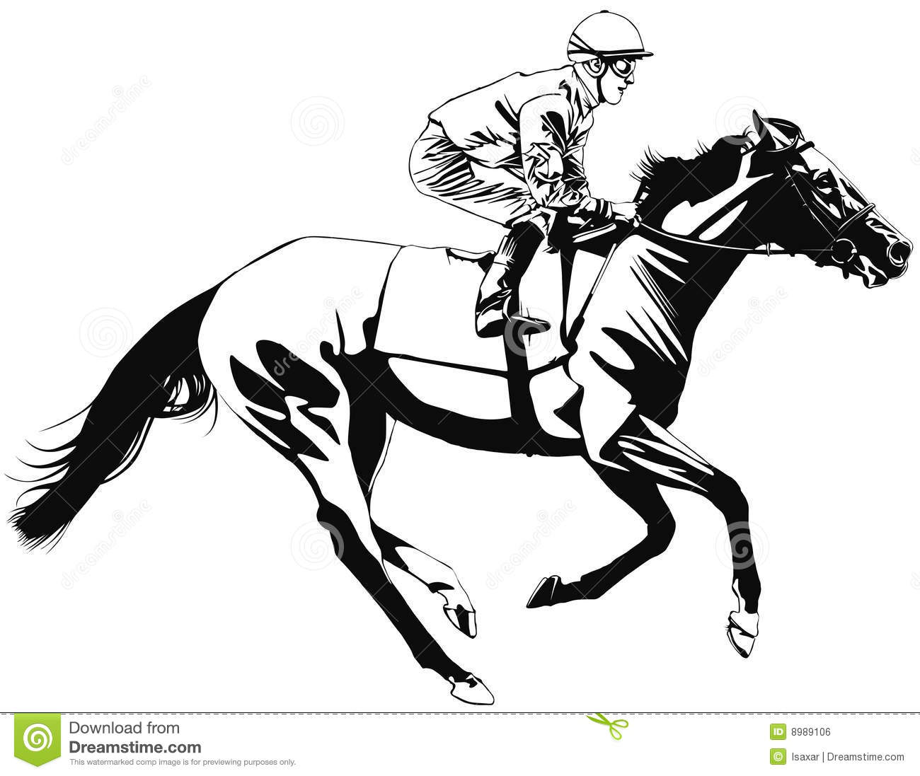Racing Horse And Jockey Stock Vector Illustration Of Illustration 8989106