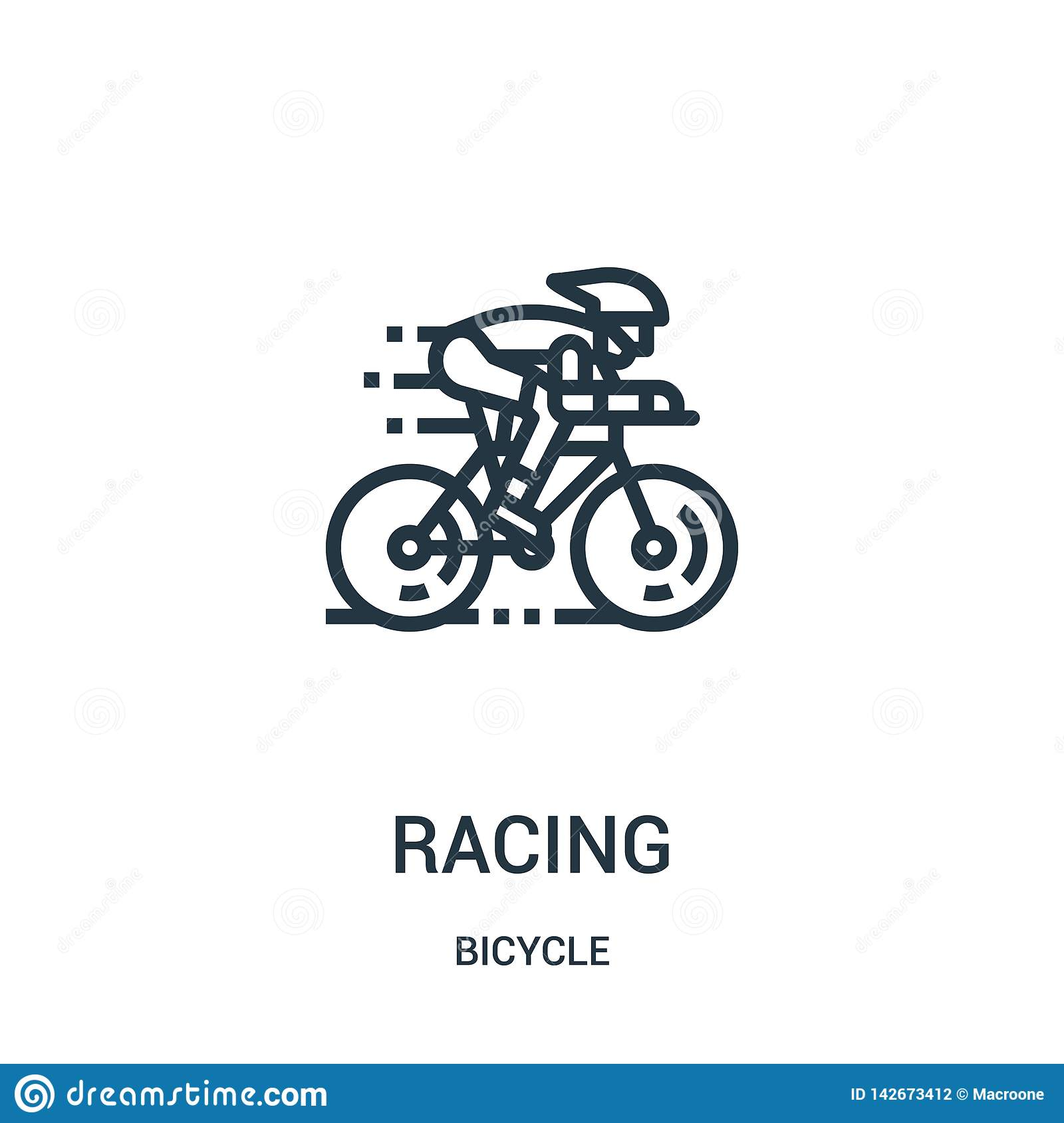 racing icon vector from bicycle collection. Thin line racing outline icon vector illustration. Linear symbol for use on web and