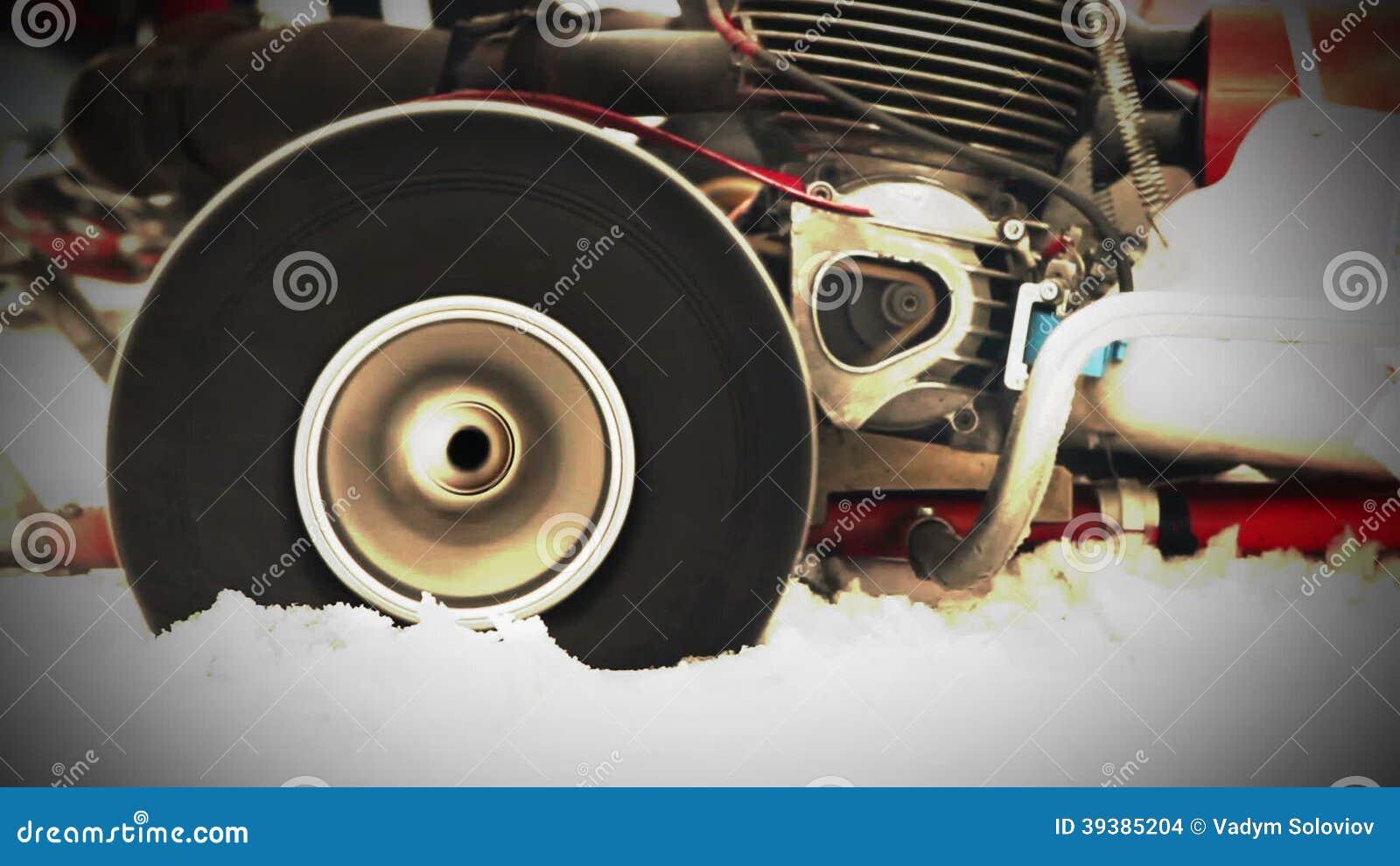 Racing Kart Wheelslip With Loud Engine Sound Stock Footage