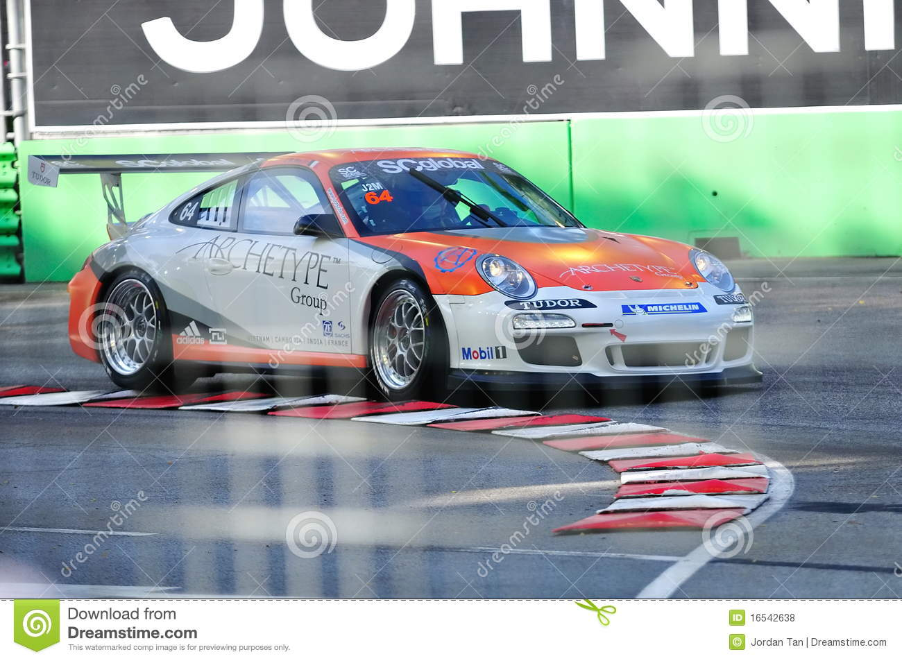 Racing At Porsche Carrera Cup Asia 2010 Editorial Stock