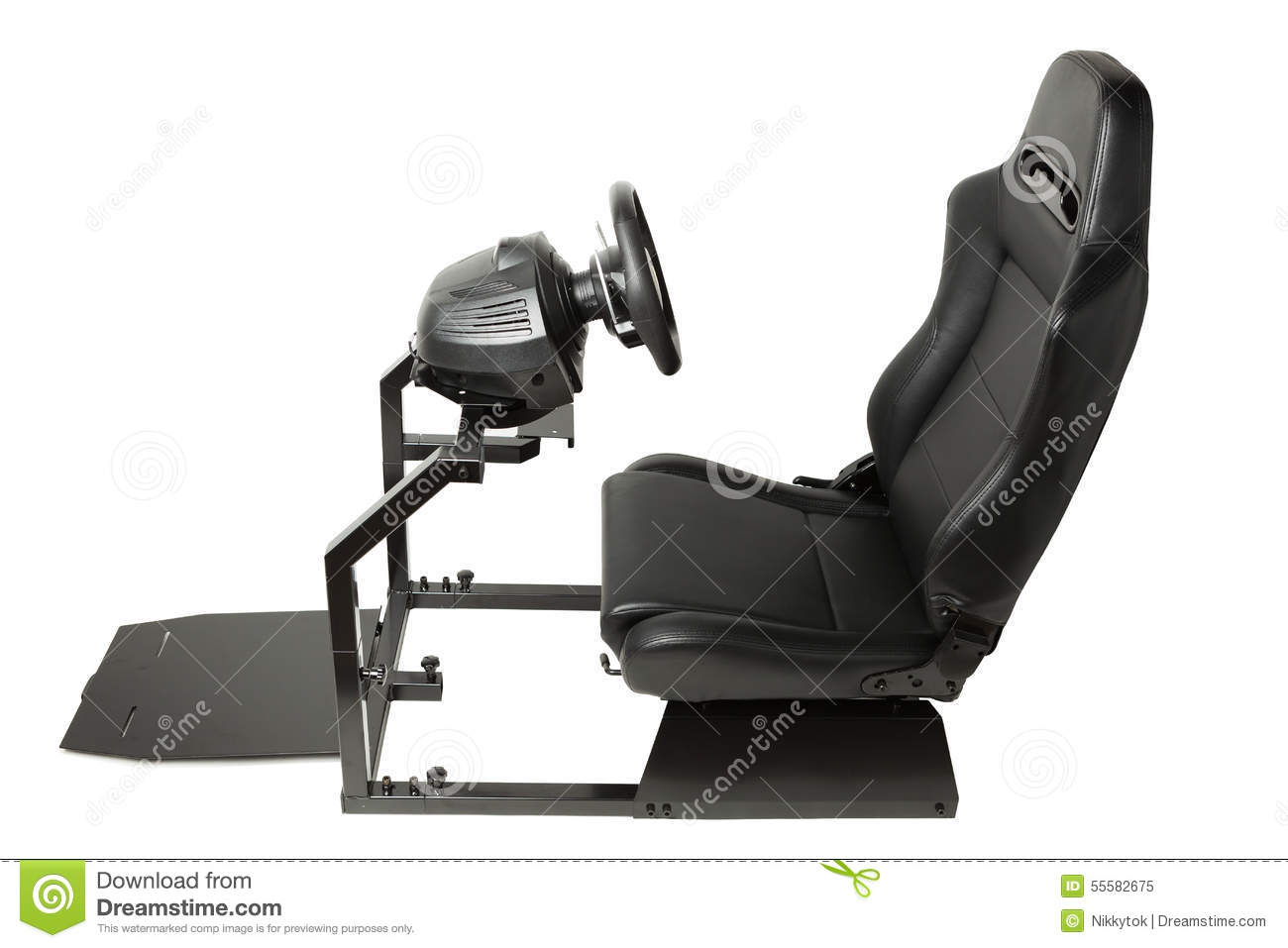 Racing Simulator Cockpit With Seat And Wheel Stock Image