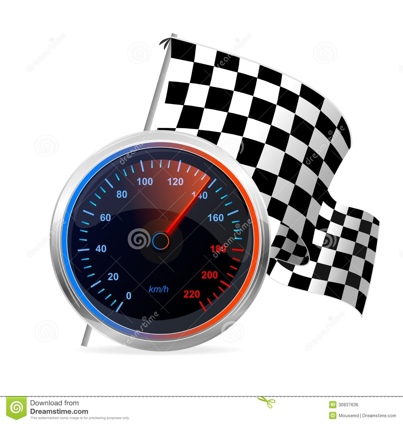 Racing Speedometer And Checkered Flag. Vector Royalty Free Stock Image ...