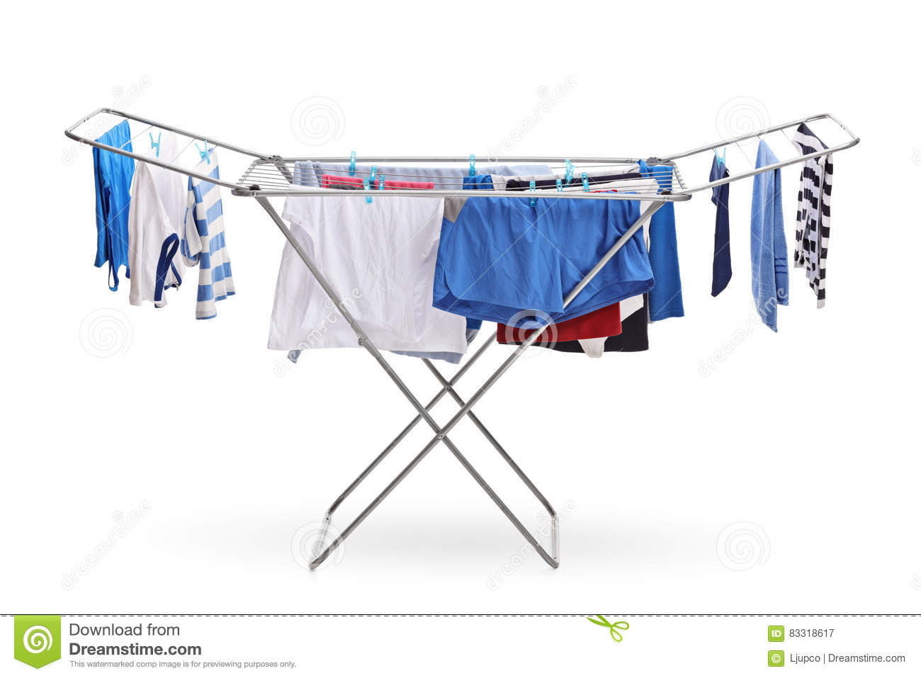 Rack dryer with clothes hanging