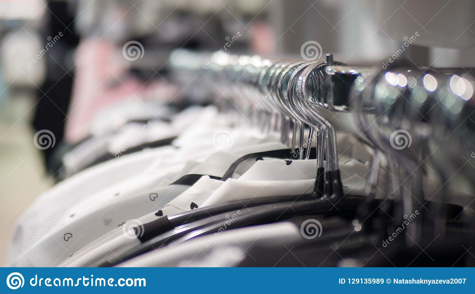 Rack With Hangers In A Clothes Store  Selected Focus  Stock Image