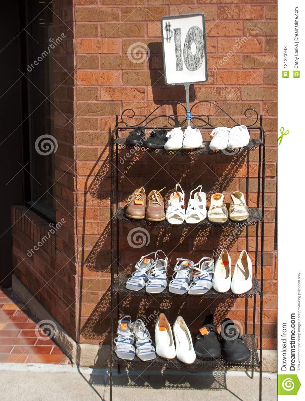 415fcab9eb2 Shoe Rack Outside Shoe Store Editorial Stock Photo - Image of retail ...
