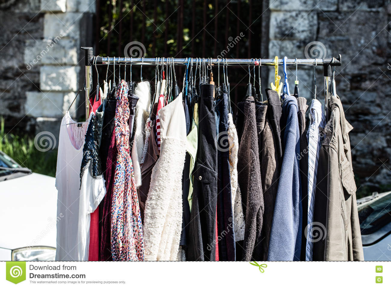 Rack Of Old Fashioned Women's Clothes At Garage Sale Stock Image