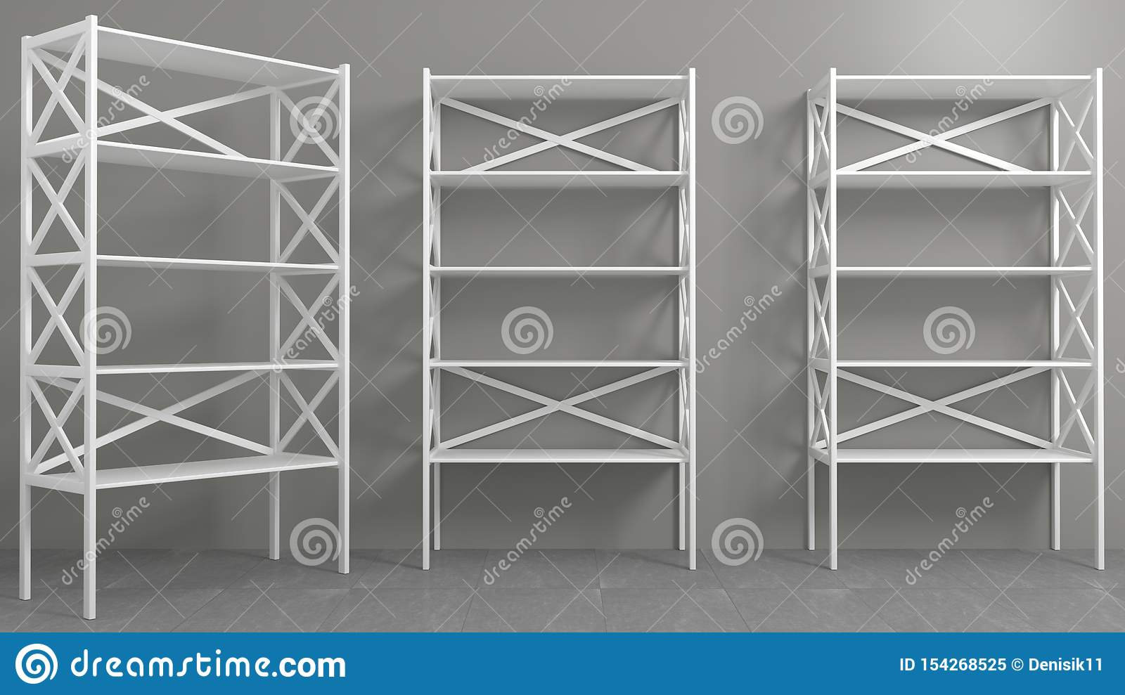 Rack With Shelves Showcase Or Wardrobe Stock Illustration
