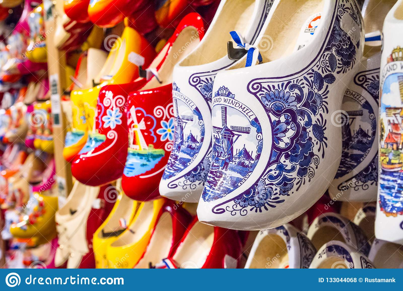 Rack In The Store With Rows Traditional Dutch Wooden Shoes Klompen