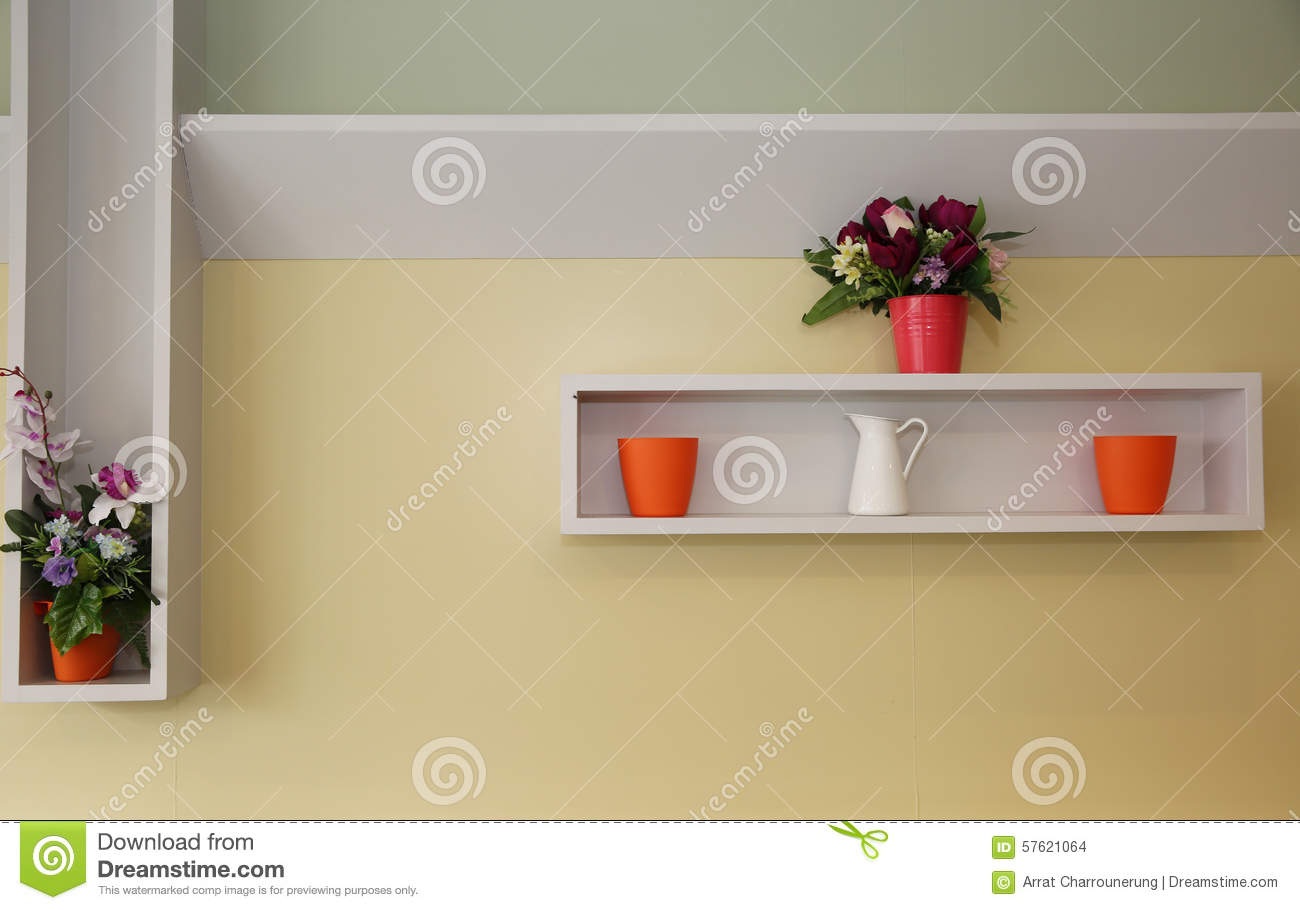 Rack And Wall, Interior Decoration Stock Photo - Image of yellow ...