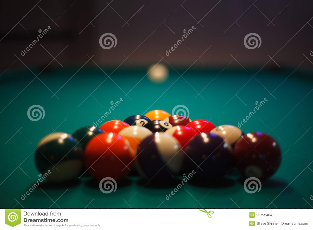 Racked And Ready - Pool Balls Set Up For Play Stock Photo