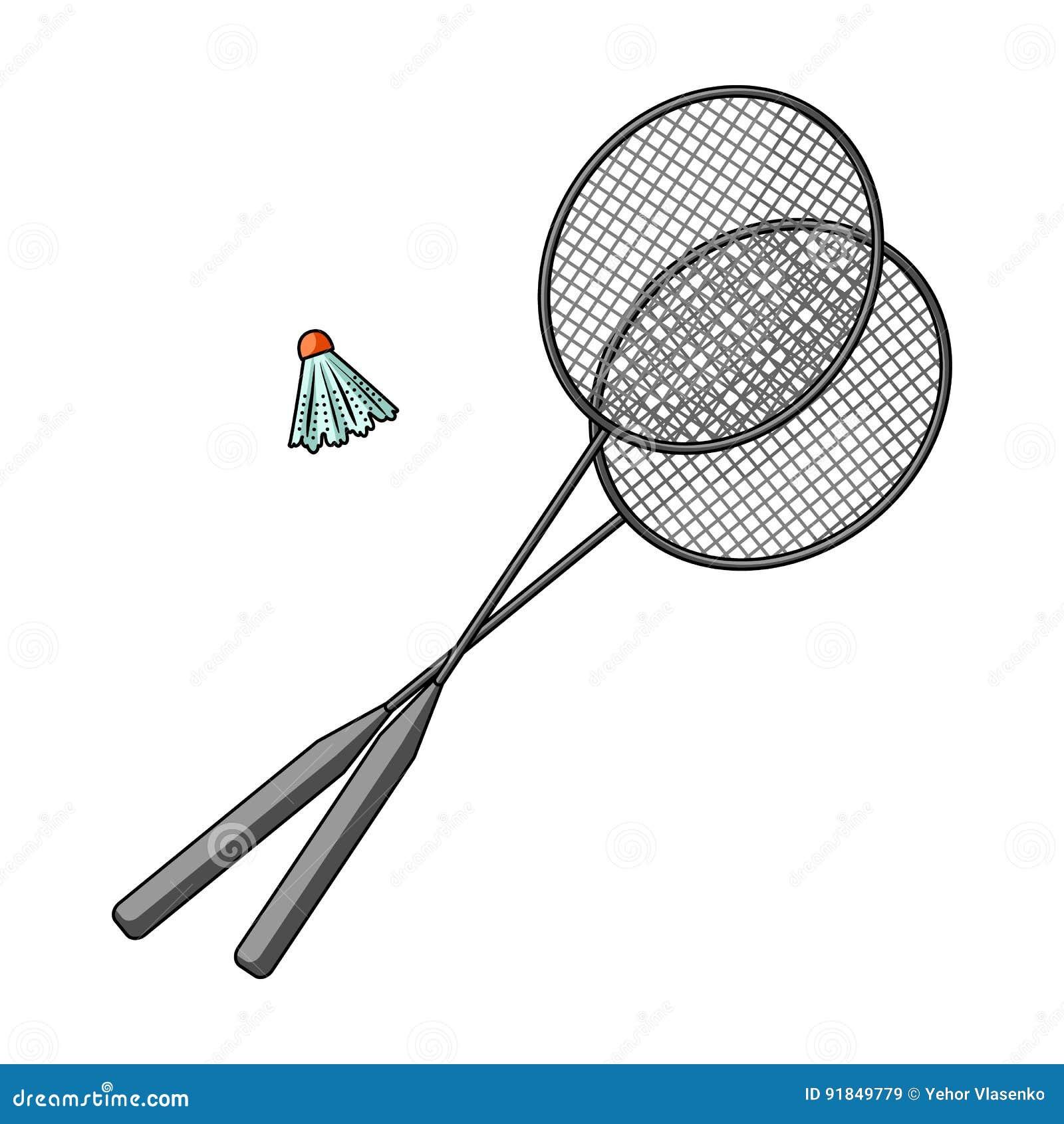 Racket och en fjäderboll för badminton Sommar vilar den enkla symbolen i  tecknad filmstilrateren b72f0af41817d