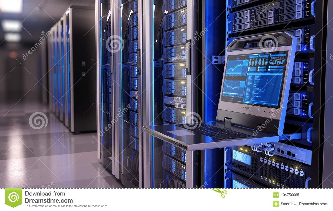 Download Rackmount LED Console In Server Room Data Center Stock Image - Image of connection, line: 104750065