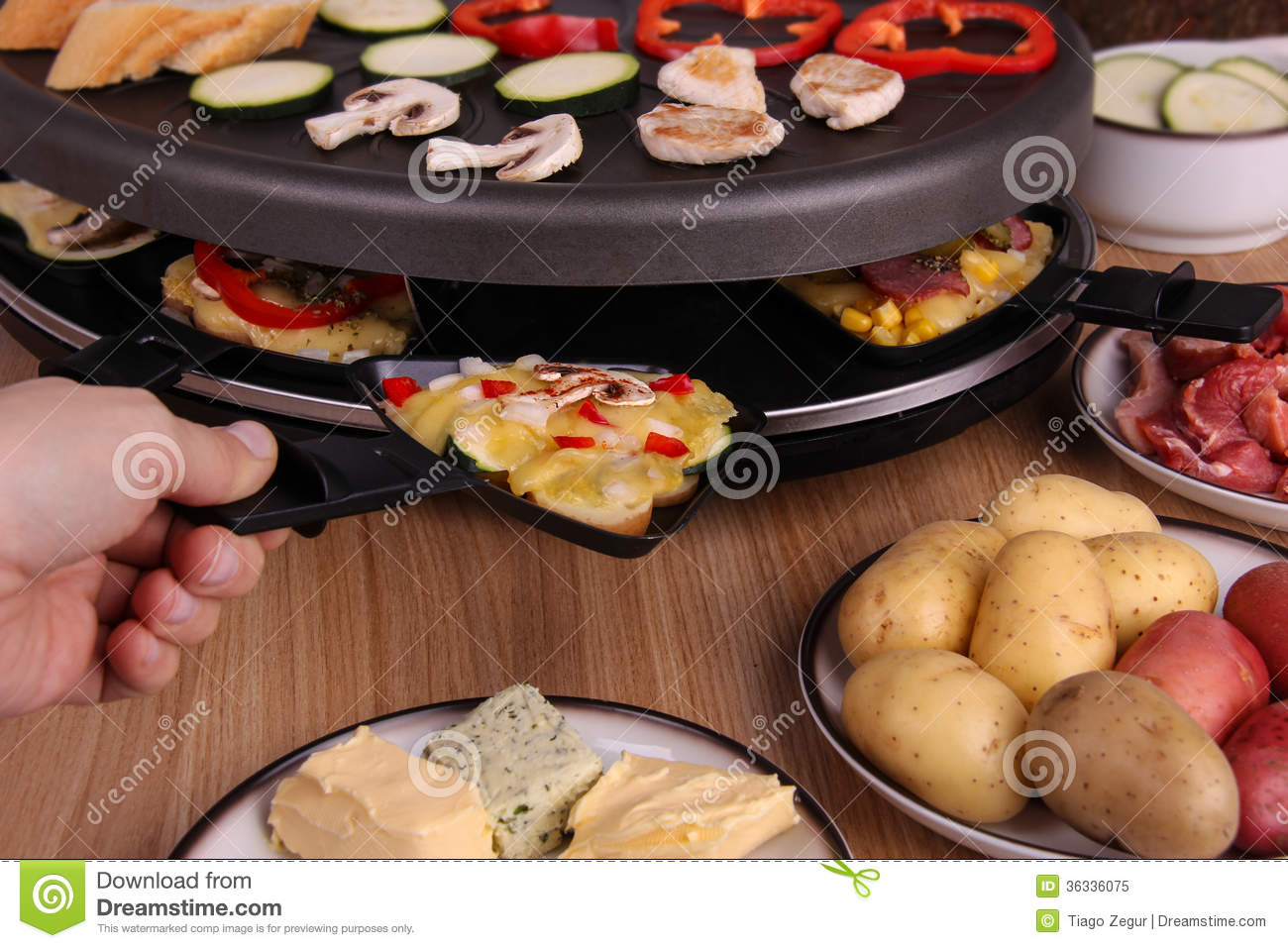 raclette dinner stock image image of culture pans. Black Bedroom Furniture Sets. Home Design Ideas