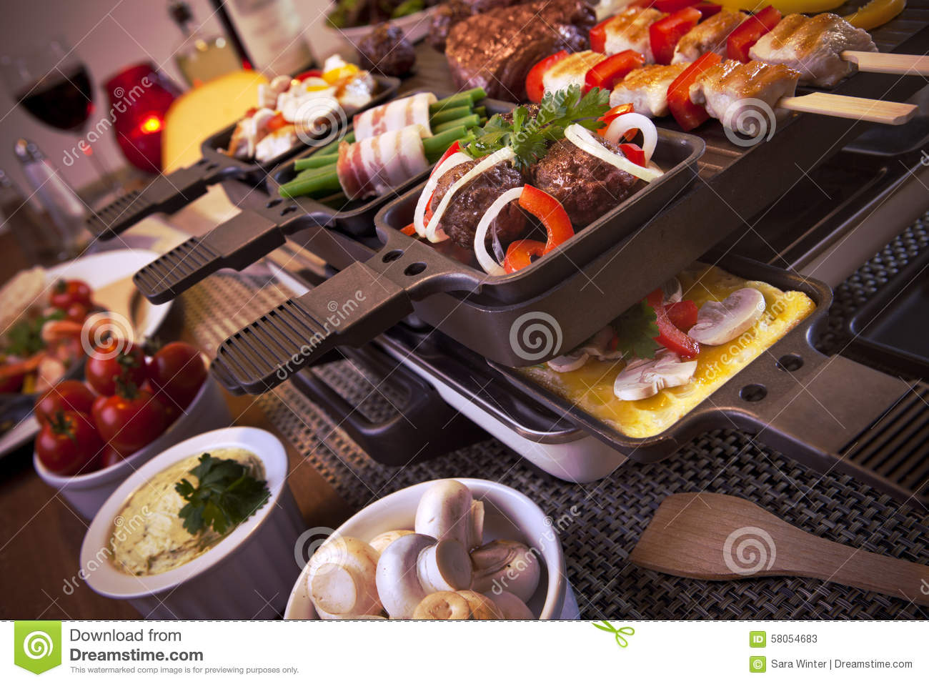 raclette table top grill or dutch 39 gourmetten 39 stock photo image 58054683. Black Bedroom Furniture Sets. Home Design Ideas