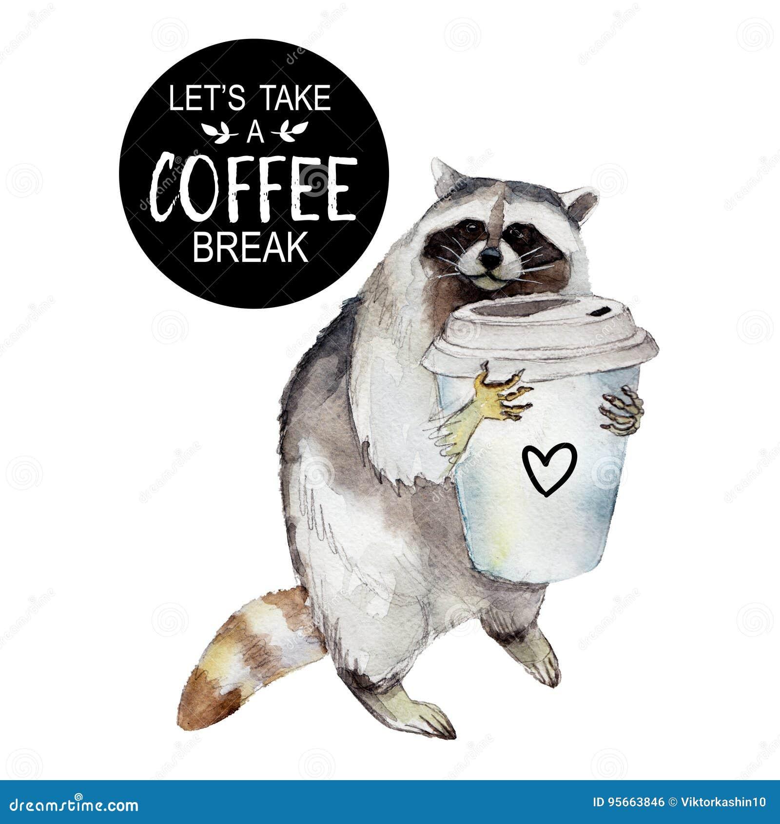 Racum com caneca de café e slogan à moda, caráter animal isolado no branco