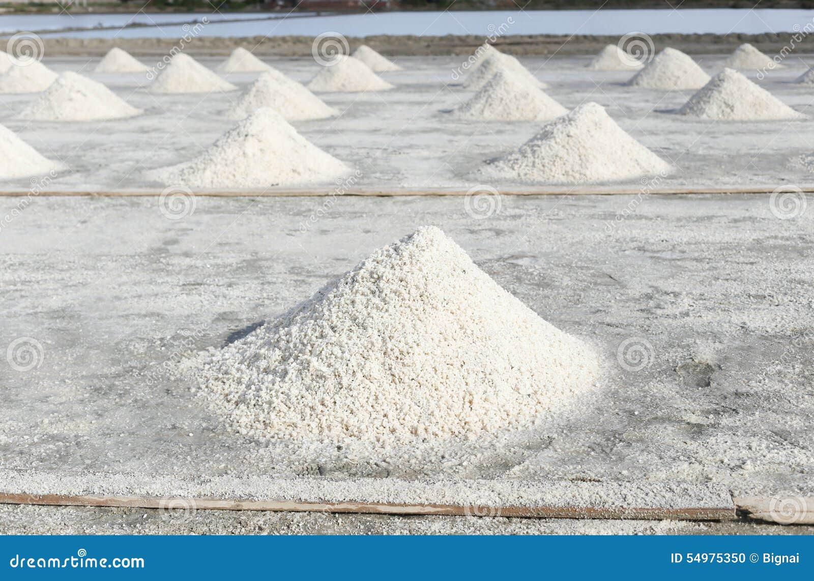 Rad av salt i salt panna