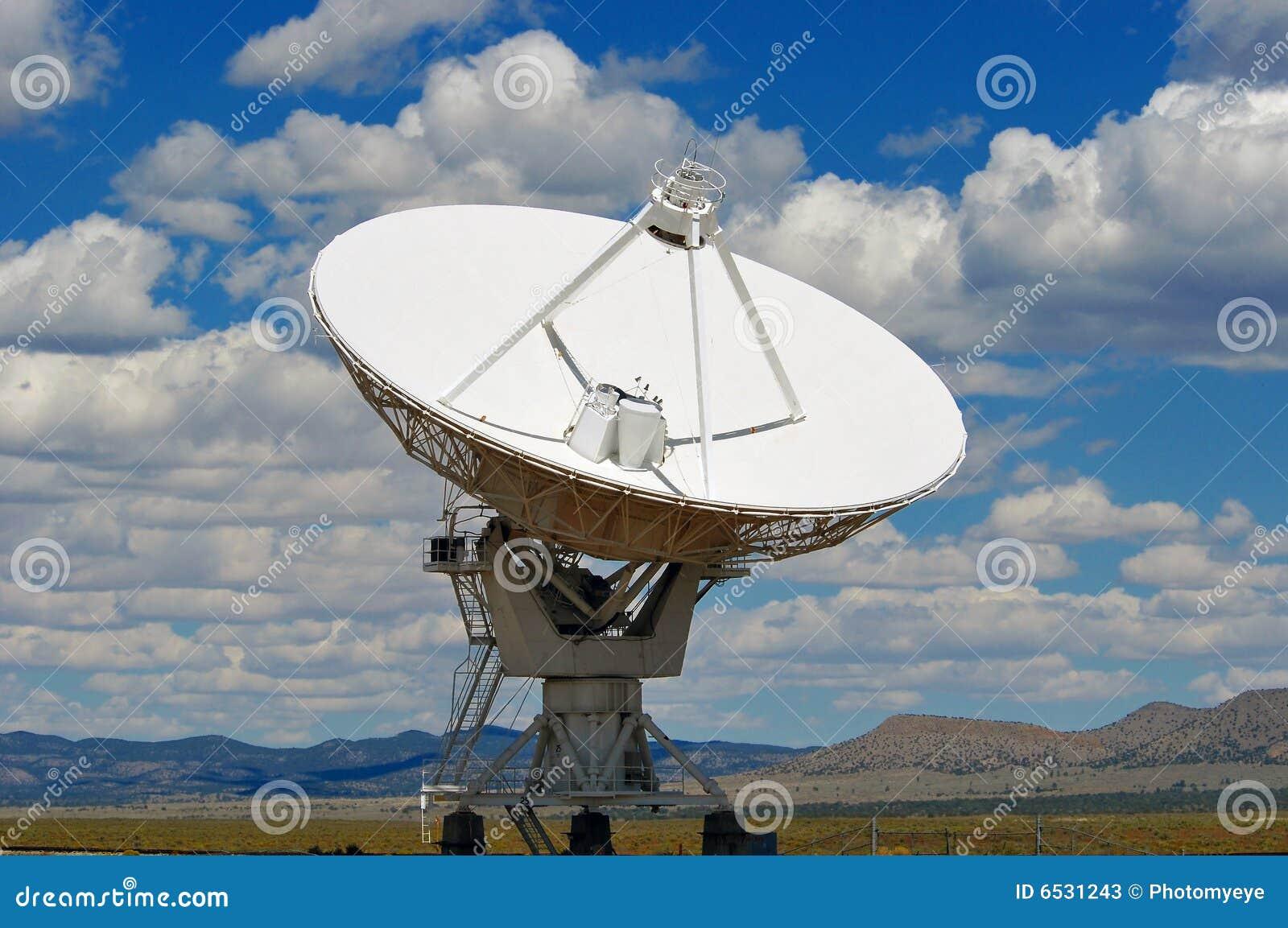 Radar dish in desert