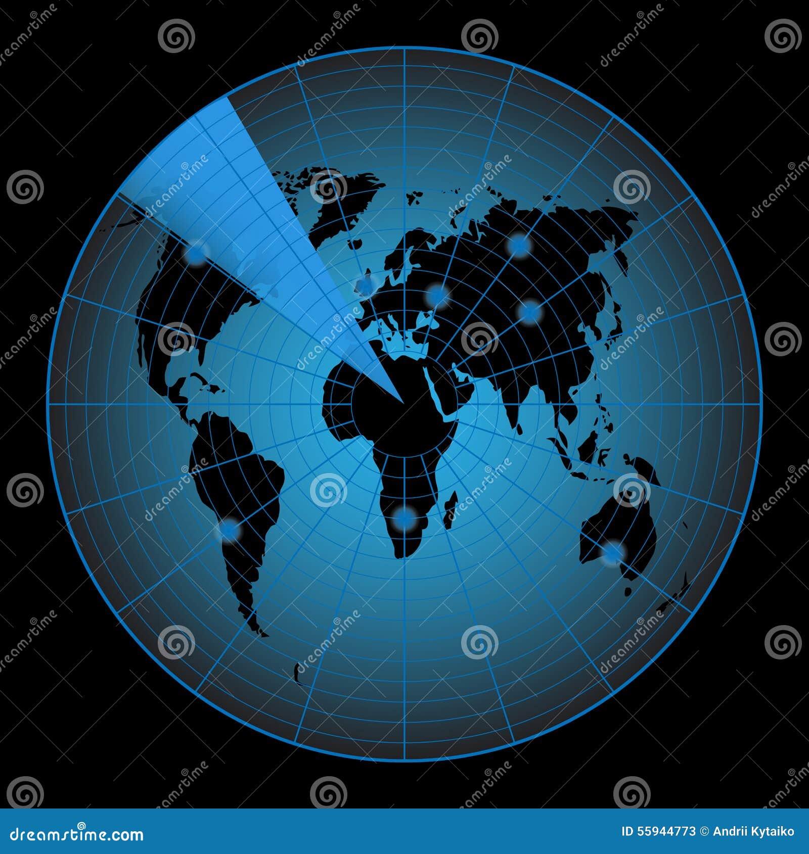 Radar Map Of The World Stock Illustration Image 55944773