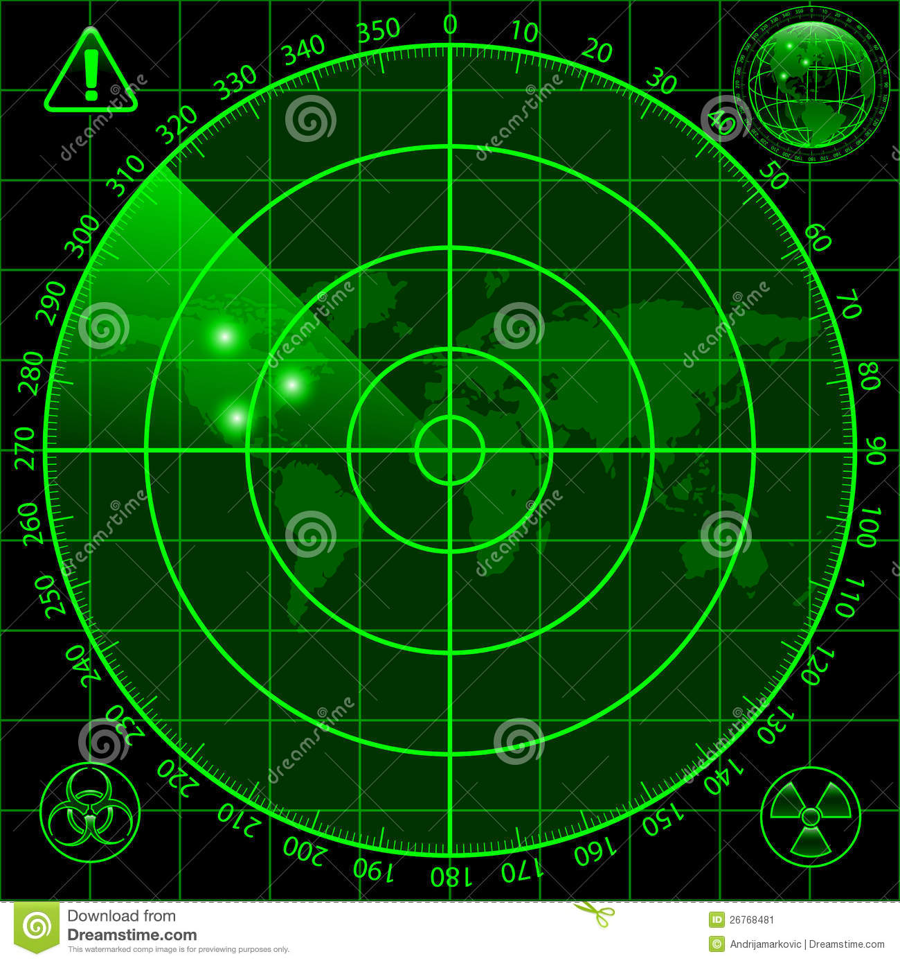 Illustration of radar screen as a security tool.