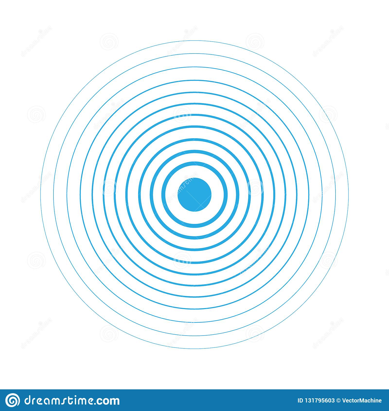 Radar screen concentric circle elements. Vector illustration for sound wave. White and blue color ring. Circle spin target. Radio