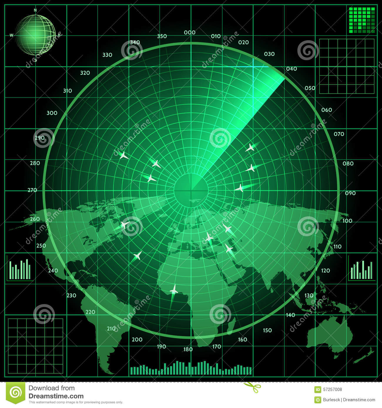 Green radar screen with planes and world map stock vector radar screen with planes royalty free stock photos gumiabroncs Choice Image