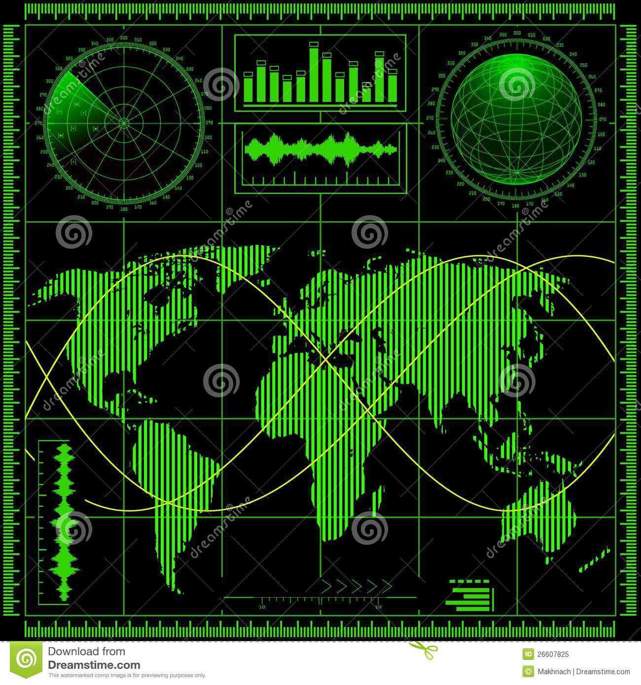Radar Screen With World Map Royalty Free Stock Photo Image 26607825