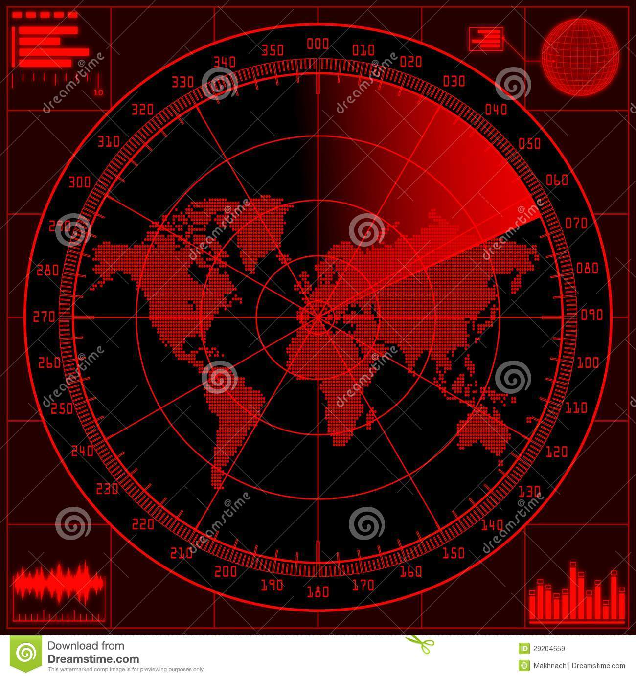 Radar Screen With World Map Royalty Free Stock Images Image 29204659