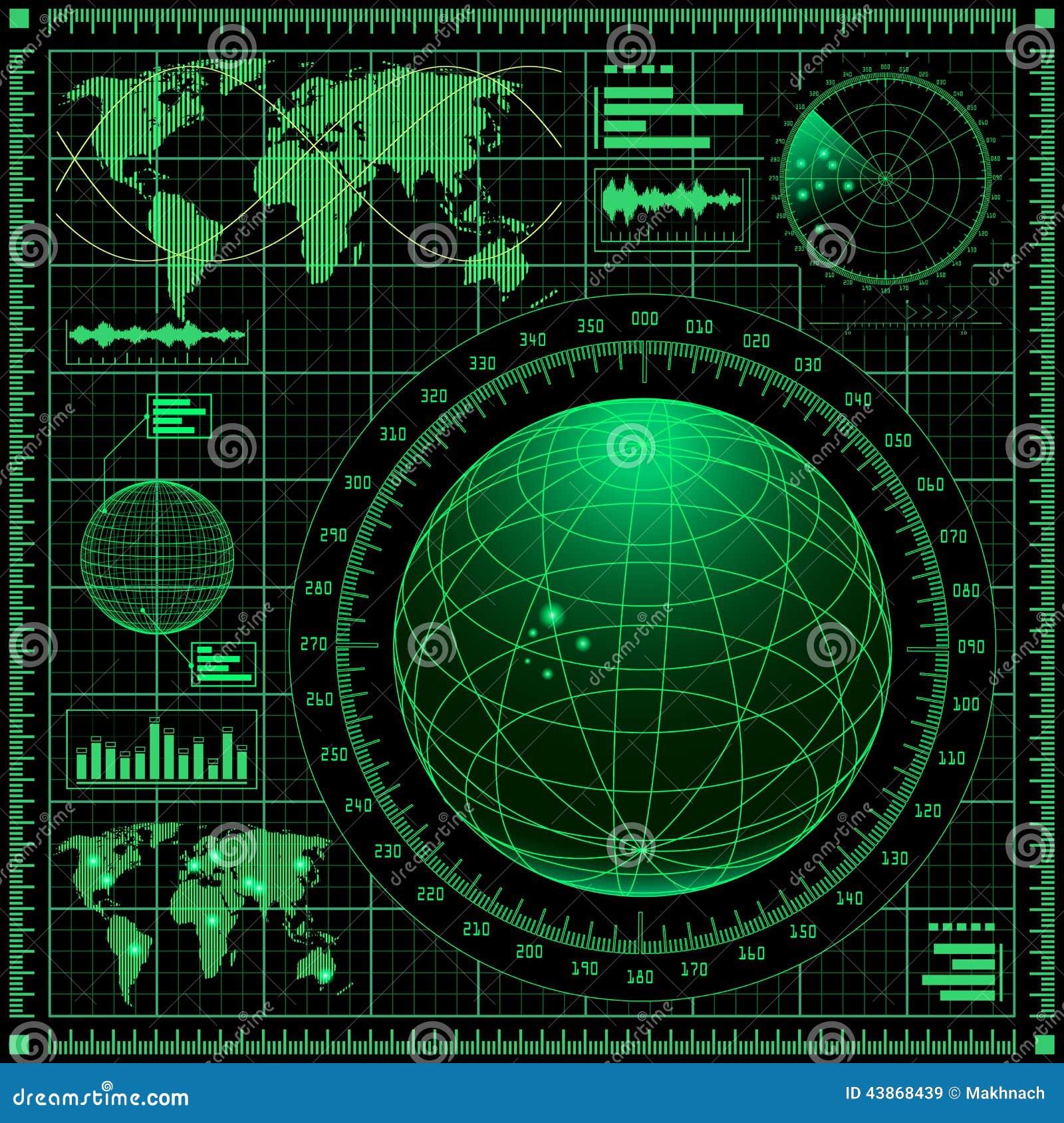 Radar Screen With World Map Stock Vector Image 43868439